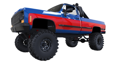 large pickup truck off-road. Full - training. Highly raised suspension. Huge wheels with spikes for rocks and mud. 3d illustration.