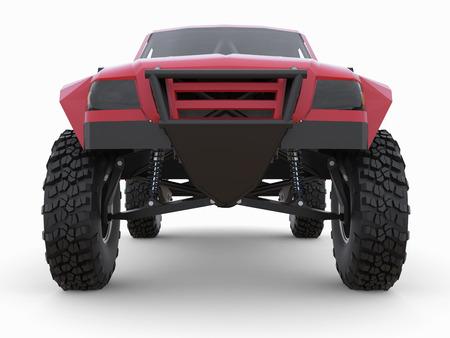 struts: Most prepared red sports race truck for the desert terrain.