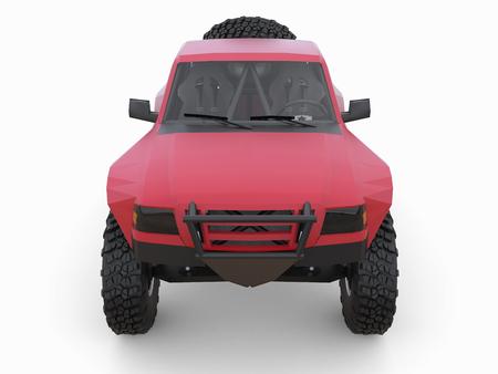 truck driver: Most prepared red sports race truck for the desert terrain.