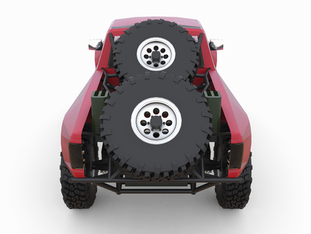 shocks: Most prepared red sports race truck for the desert terrain.