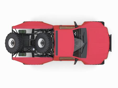 struts: Most prepared red sports race truck for the desert terrain Stock Photo