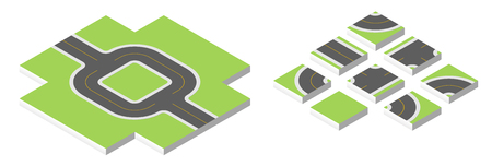 road works ahead: Isometric road. illustration isolated on white background