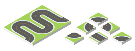 road works ahead: Isometric road