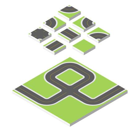 Isometric road. Vector illustration eps 10 isolated on white background