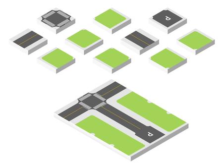 asphalt texture: Isometric road. illustration isolated on white background