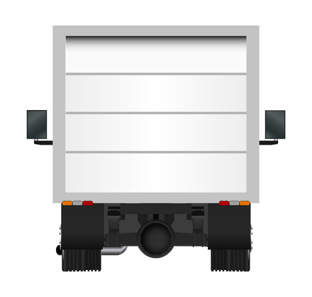 Yellow truck template. Cargo van Vector illustration EPS 10 isolated on white background. City commercial vehicle delivery