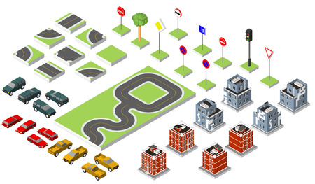 Set Isometric road and Vector Cars, Common road traffic regulatory. Illustration