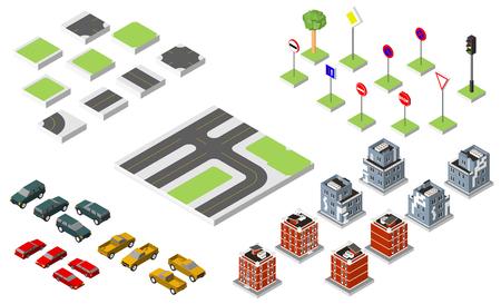 Set Isometric road and Vector Cars, Common road traffic regulatory. Illustration