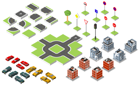 tarmac: Set Isometric road and Vector Cars, Common road traffic regulatory. Illustration