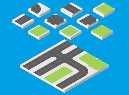 Isometric road. Vector illustration eps 10 isolated on white background. Stock Photo