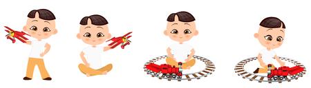 Set young Japanese boy playing toy. Vector illustration eps 10 isolated on white background. Flat cartoon style