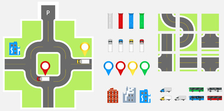 Cityscape Design Elements with road, transport, buildings, navigation pins. Road Map Vector illustration eps 10. May be used for vector illustration, web site, infographics template Illustration