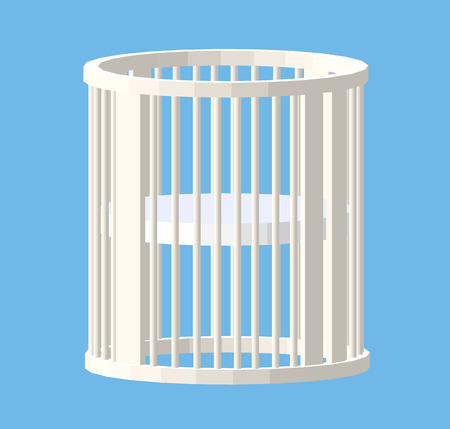 handrail: Round white cot. Baby Crib. Modern nurse design. Vector illustration isolated