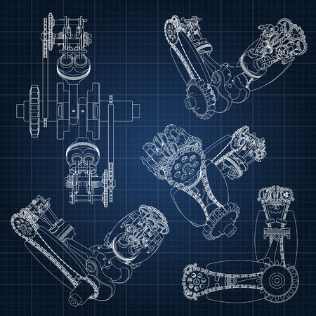 Various engine components, pistons, chains, nozzles and valves are depicted in the form of lines and contours. 3D drawing of assembly and parts. Illustration