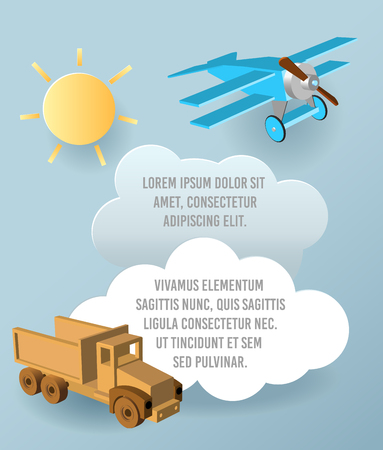 Vector Paper art of cloud, car and plane in the sky. Template advertising brochure with space for text. Origami concept Banner