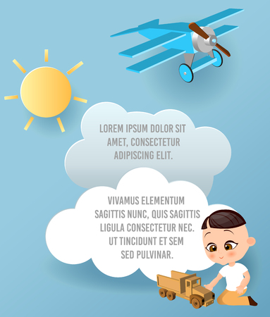 Japanese boy with toy car. Boy playing car. Vector Paper art of car, cloud and plane in the sky. Template advertising brochure with space for text. Origami concept Banner. Banner with funny cartoon kids Illustration