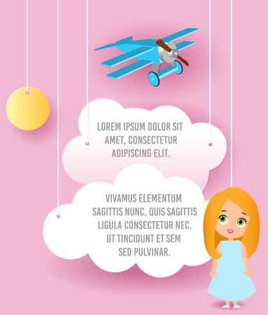 love cloud: Cute girl cartoon character. Vector Paper art of cloud and plane flying in the sky. Template advertising brochure with space for text. Origami concept Banner. Banner with funny cartoon kids