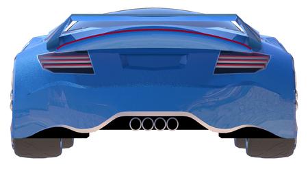 Blue shiny conceptual sports car of the future