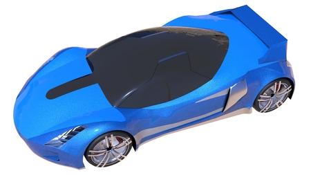prestige: Blue shiny conceptual sports car of the future