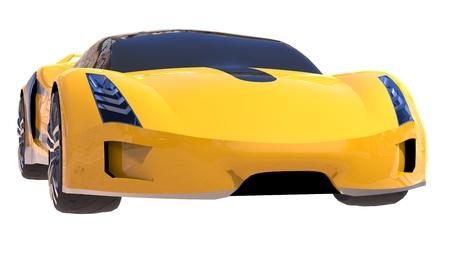 Yellow shiny conceptual sports car of the future Stock Photo