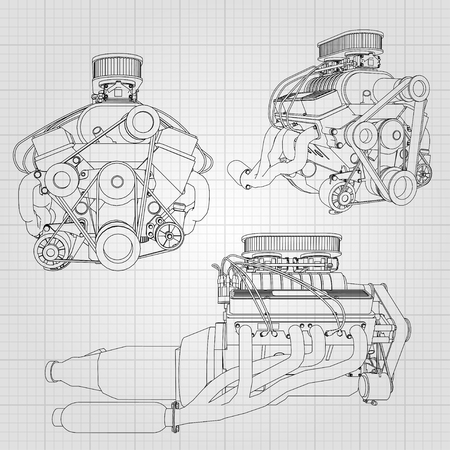 A set of several types of powerful car engine. The engine is drawn with black lines on a white sheet in a cage.