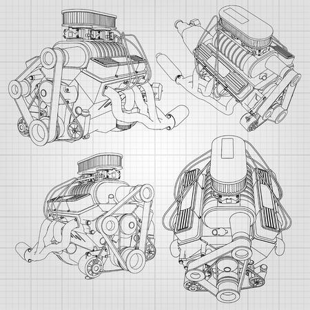 強力な車のエンジンのいくつかの種類のセット。エンジンは、檻の中の白いシートに黒の線で描画されます。