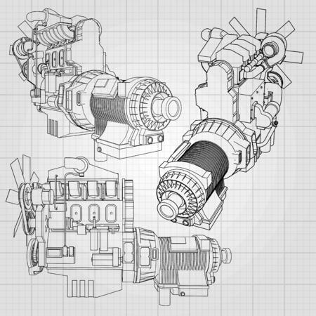 Un grande motore diesel con il camion rappresentato nelle linee di contorno sulla carta del grafico. I contorni della linea nera sullo sfondo grigio. Vettoriali