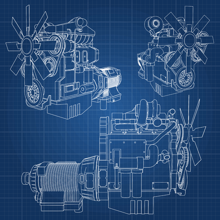 A big diesel engine with the truck depicted in the contour lines on graph paper. The contours of the black line on the blue background. Illustration