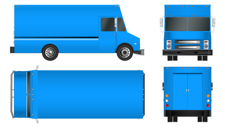 auto service: truck template. Cargo van Vector illustration E isolated on white background. City commercial vehicle delivery