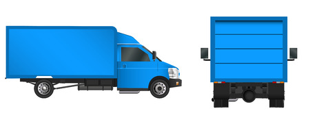 Truck template. Cargo van Vector illustration EPS 10 isolated on white background. City commercial vehicle delivery Illustration