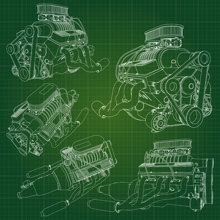 A big diesel engine with the truck depicted in the contour lines on graph paper. The contours of the black line on the green background
