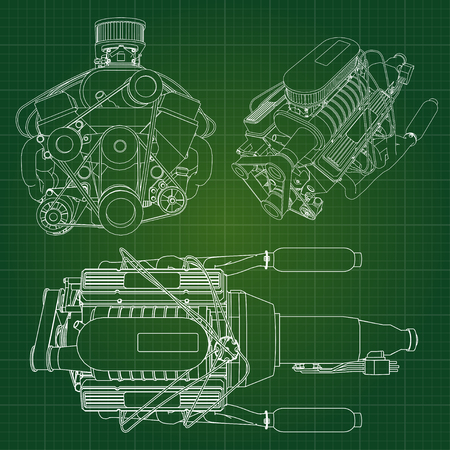 industrial machinery: A big diesel engine with the truck depicted in the contour lines on graph paper. The contours of the black line on the green background
