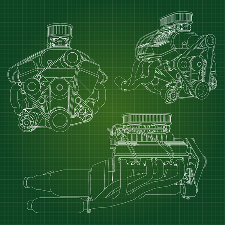 compression: A big diesel engine with the truck depicted in the contour lines on graph paper. The contours of the black line on the green background