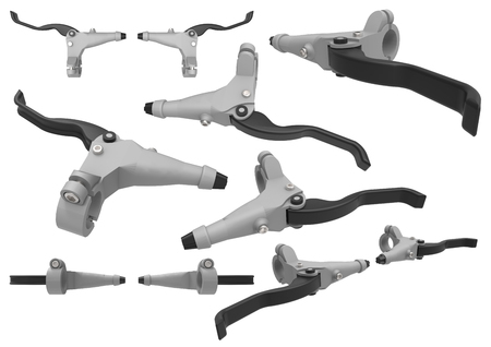 Bicycle brake. Hand brake lever. Detail for controlling the braking of a bicycle. Isolated set of images on a white background. 3d illustration.