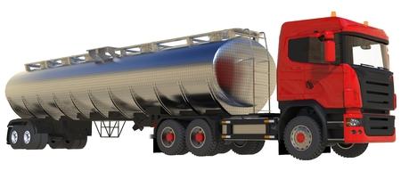 Großer roter LKW-Tanker mit einem polierten Metallanhänger. Ansichten von allen Seiten. 3d darstellung Standard-Bild - 79855179