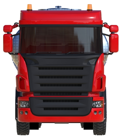 Large red truck tanker with a polished metal trailer. Views from all sides. 3d illustration.