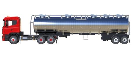 Großer roter LKW-Tanker mit einem polierten Metallanhänger. Ansichten von allen Seiten. 3d darstellung