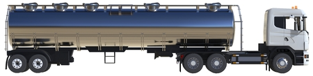 Large white truck tanker with a polished metal trailer. Views from all sides. 3d illustration Imagens - 79876634