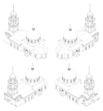 cupola: The temple of the Russian Orthodox Church, a drawing in lines, views from all sides