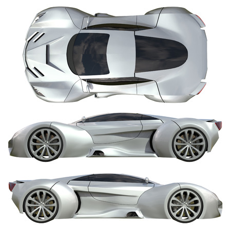 assortment: A set of three types of racing concept car in gray. Side view and top view. 3d illustration