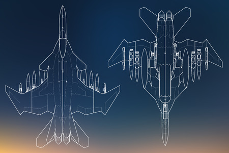 Set of military jet fighter silhouettes. Image of aircraft in contour drawing lines Stock Vector - 85246890