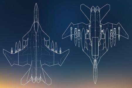 Set van militaire jet fighter silhouetten. Afbeelding van vliegtuig in contour tekening lijnen