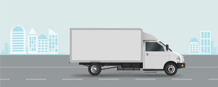 White truck on road. Cargo van Vector illustration EPS 10 isolated on white background. City commercial vehicle delivery Çizim