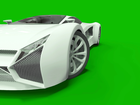 Conceptual high-speed white sports car. Green uniform background. Glare and softer shadows. 3d rendering.