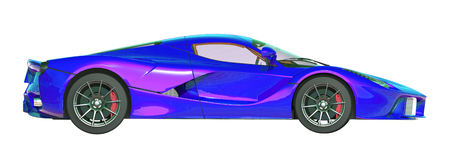 Sports car right view. The image of a sports violet-blue pearl car on a white background. 3d illustration.