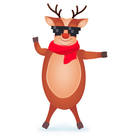 Christmas Reindeer in pixel glasses. Cute and funny character Deer. Christmas card. Vector illustration.