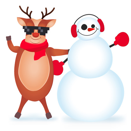 Cute and funny Christmas card. Character Deer and snowman. Vector illustration. Illustration