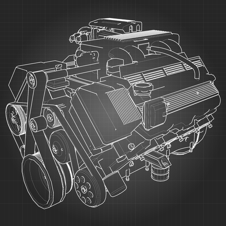 exhaust system: Powerful V8 car engine. The engine is drawn with white lines on a black sheet in a cage.