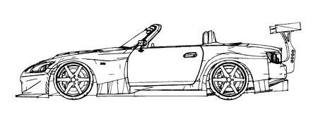 Sportwagen. Stock Illustratie in de stijl van handgetekende, lineaire afbeeldingen.