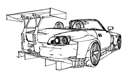 Sportwagen. Stock Illustratie in de stijl van handgetekende lineaire afbeeldingen.